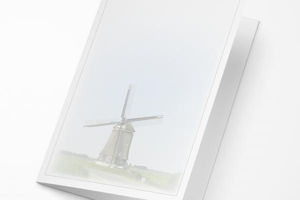 Rouwkaart - Molen grijs kader